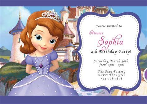 Princess Sofia Invitation Card Template by Custom Photo Invitations Disney Sofia The Birthday