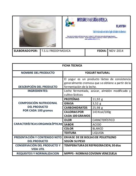 Furadan Ficha Tecnica ficha tecnica yogurt