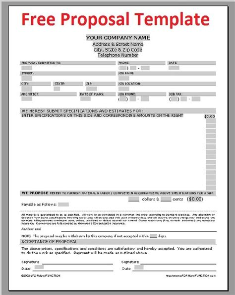 project proposal layout sle printable sle construction proposal template form