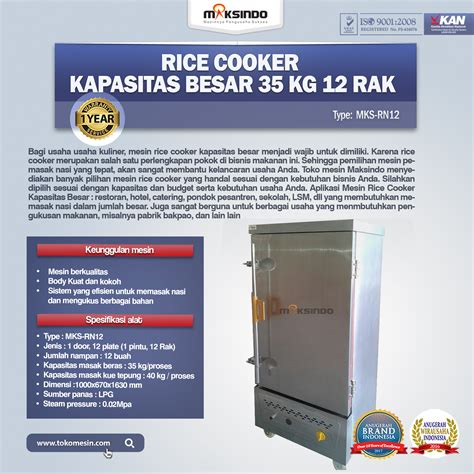 Jual Rice Cooker Gas Besar jual rice cooker kapasitas besar 35 kg 12 rak di