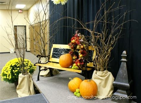 fall stage decorations dimples and tangles s a stage church stage and table