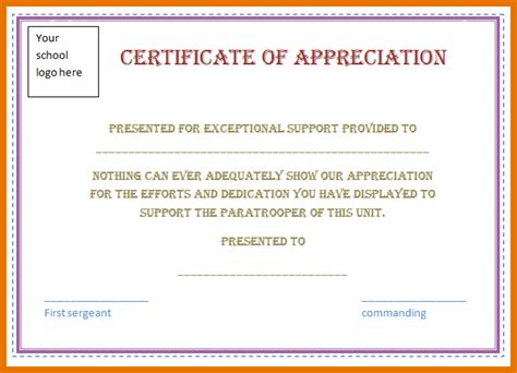 word template certificate of appreciation custom card template 187 pledge card template free card