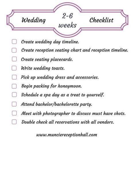 Wedding Checklist Last 2 Weeks by Wedding Planner 2 Week Wedding Checklist