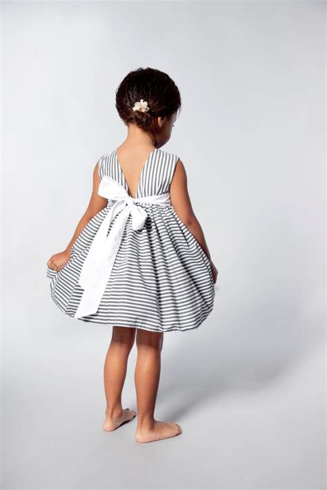 Stripes Flower Sabrina Dress flower dress in grey and white stripes