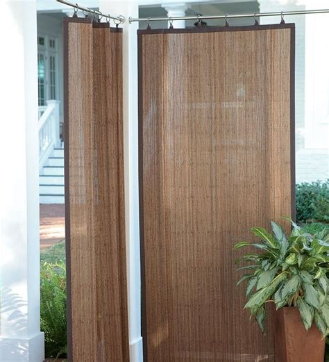 outdoor curtain panels create shade and privacy outdoors with these water resistant outdoor bamboo curtain panels