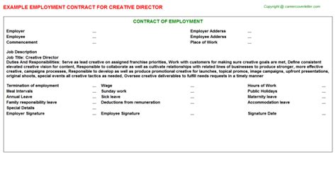 creative director employment contracts