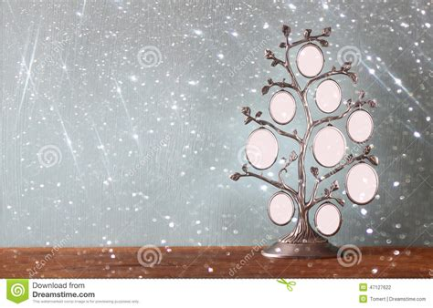 Image Of Vintage Antique Classical Frame Of Family Tree On Wooden Table And Glitter Lights Vintage Family Frames Tree Stock Image Image 32018791