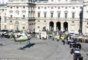 one day film locations london helicopter lands at somerset house as gerard butler films