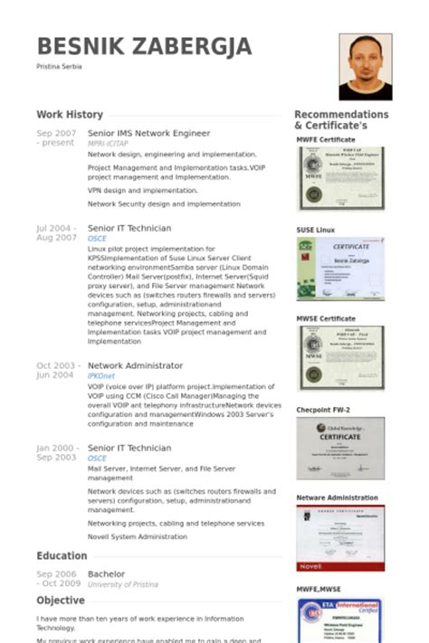 network engineer resume samples visualcv resume samples