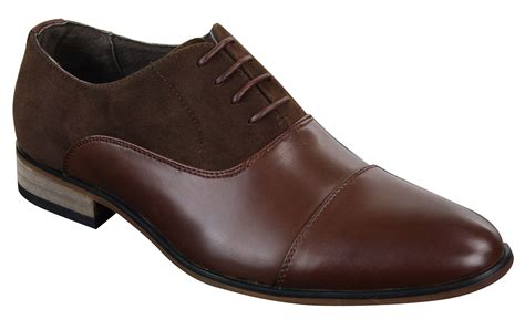 mens italian leather suede laced smart casual brown navy