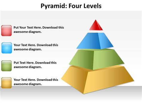 Pyramid Four Levels Ppt Slides Presentation Diagrams Templates Pyramid Ppt Template