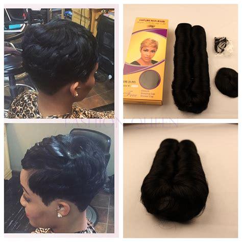 bump weave hairstyles short hair extensions cap for black women short