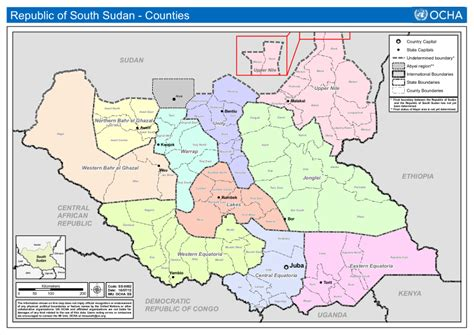south sudan map republic of south sudan counties as of 16 july 2012 reference map south sudan reliefweb