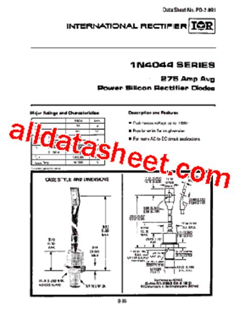 power diodes datasheet 1n4049 datasheet pdf international rectifier