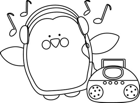 coloring book album listen black and white penguin listening to clip black