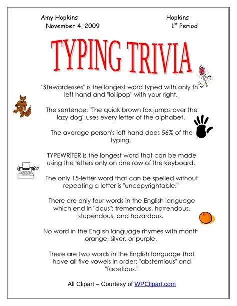 Keyboarding Worksheets by Typing Trivia Keyboarding Practice