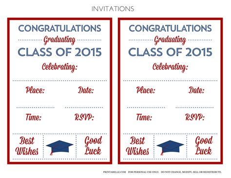 printable graduation invitations 2015 free 2015 graduation printables catch my party