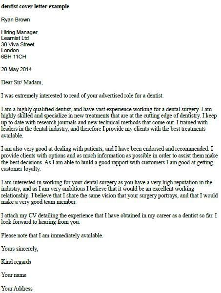 Restorative Cover Letter by Letter Of Application Letter Of Application Dentist