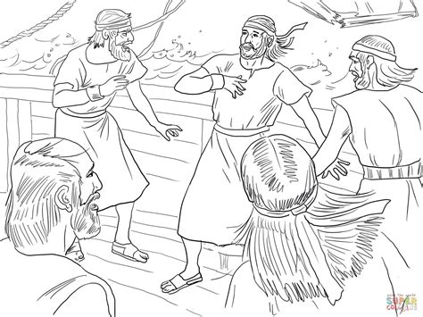 jonah vine coloring page jonah on boat during the storm coloring page free