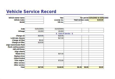 vehicle service record template free excel template 27 free excel documents
