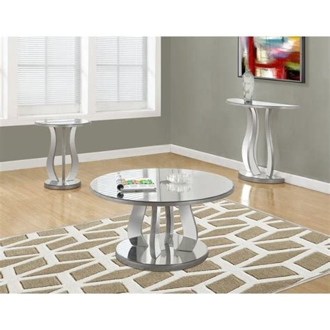 mirrored table l set 3 mirrored coffee table set in brushed silver i 37