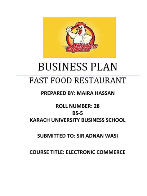fast food business plan template fast food restaurant business plan fast food