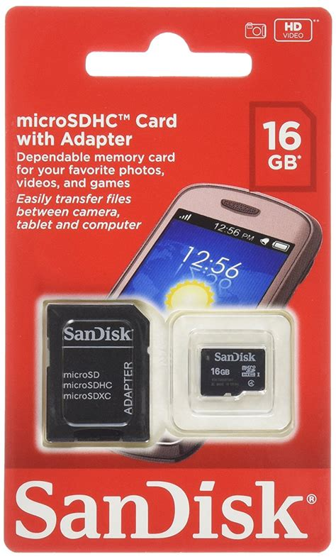 sandisk 16gb mobile microsdhc class 4 flash memory card with adapter
