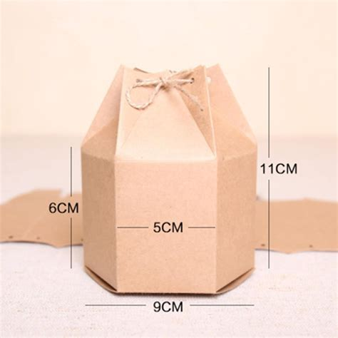 Paper Box Souvenir Uk 9 9 11 5 9 11cm gift chocolate hexagon kraft paper boxes with rope 1 96x3 54x4 33 nut brown stand up