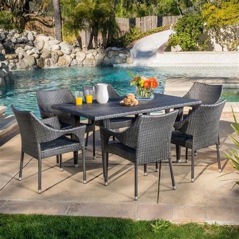 noble house cliff gray  piece wicker outdoor dining set   home depot