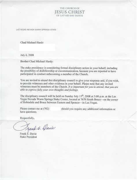Lds Acceptance Letter Exle Best Photos Of Exle Of Disciplinary Letter Employee Disciplinary Letter Sle Employee