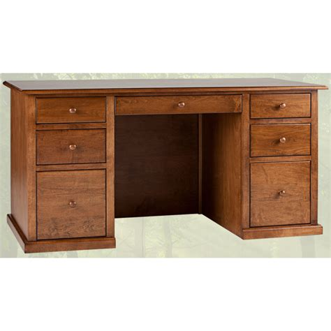 Solid Wood Home Office Desk Traditional Double Pedestal Real Wood Office Desk
