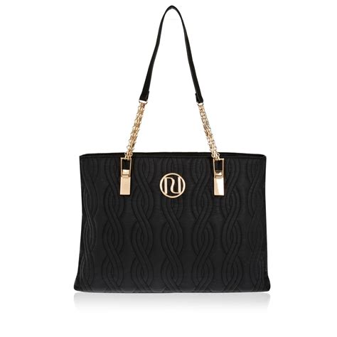 Chain Tote Bags Black river island black quilted chain tote bag in black