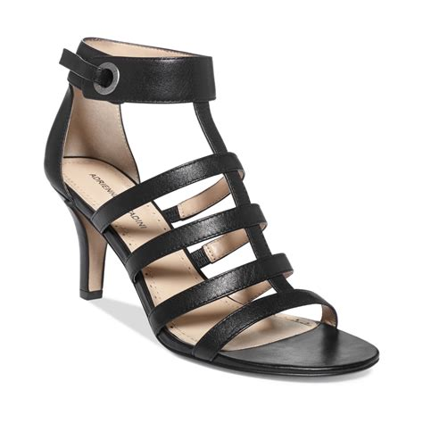 caged sandal adrienne vittadini goldie caged gladiator sandals in black