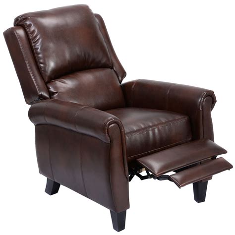 Leather Push Back Recliners by Recliner Accent Chair Leather Push Back W Leg Rests