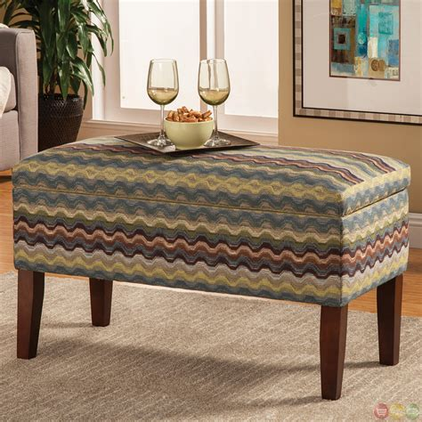 striped storage bench blue green striped upholstery hidden storage bench
