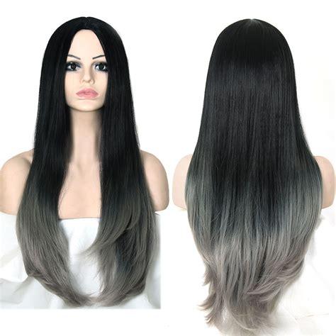 grey hair extensions for black women grey ombre wig false hair synthetic wigs for black women