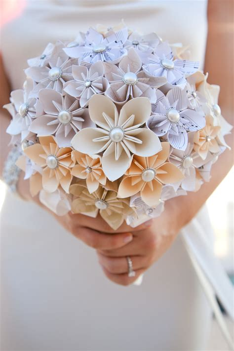 Origami Flower Bouquet For Sale - unique alternative paper flower wedding by mandagirldesigns