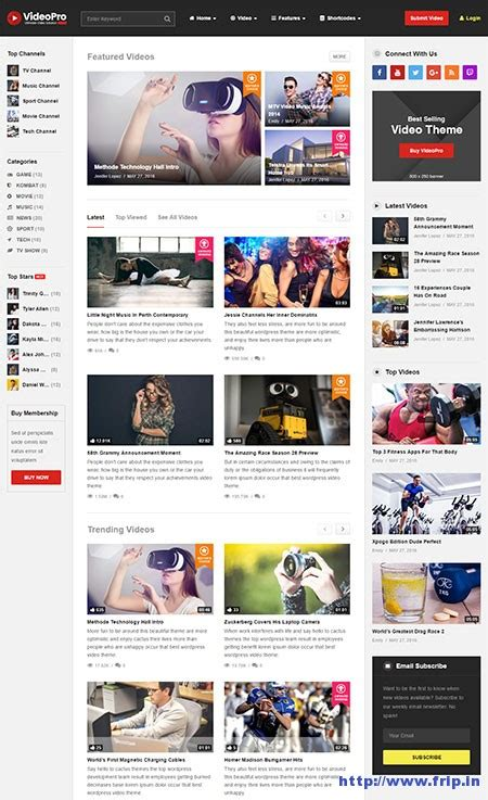 videopro theme 40 best wordpress video themes 2018 free premium frip in