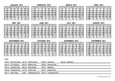 annual calendar template 2017 pdf yearly calendar with holidays free printable