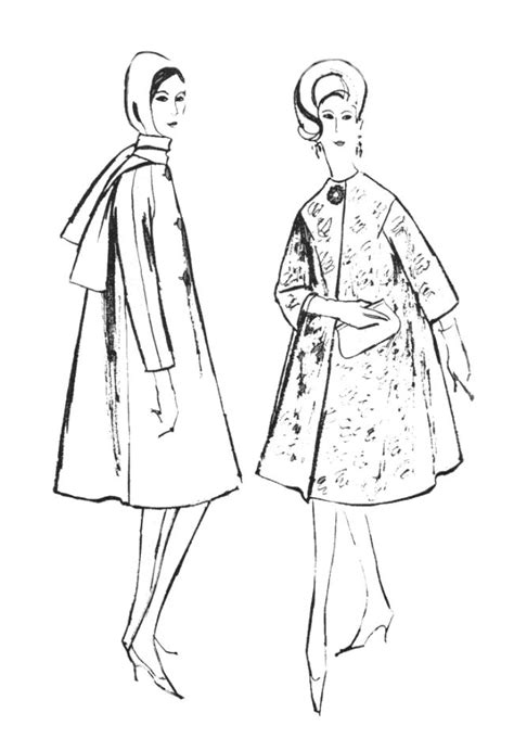 60s swing sheet 1960s colouring in fashion line drawings for sewing patterns