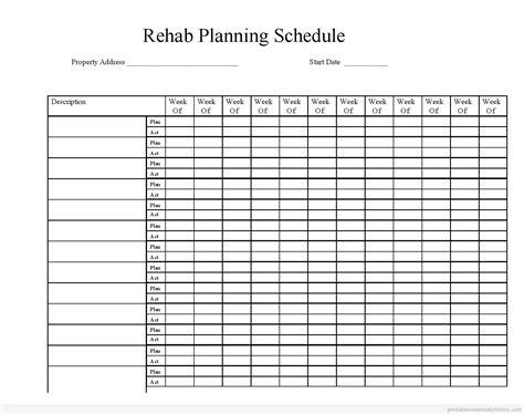 printable estate planner rehab planning schedule 187 printable real estate forms