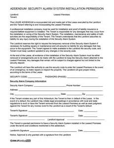 Permission Letter From Landlord Security Alarm System Installation Policy And Permission