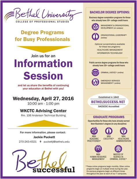 Bethel Success Mba by Information Session Paducah Bethel