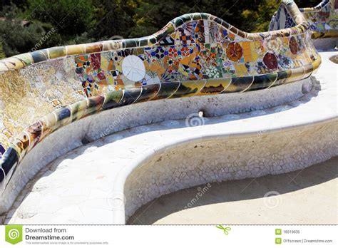 park guell bench antonio gaudi a bench in park guell royalty free stock