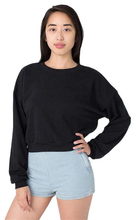 Sweater Crop Top Murah Bahan Flecee 1 american apparel california fleece cropped sweatshirt sweater tradesy