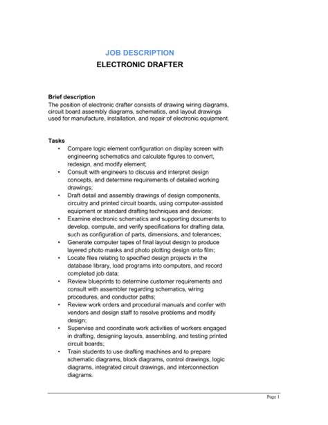 layout drafter job description electronic drafter job description template sle