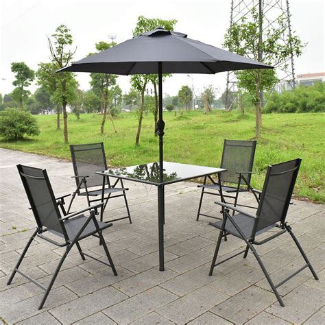 4 Chair Patio Set 6pcs Patio Garden Set Furniture 4 Folding Chairs Table With Umbrella Gray New Ebay