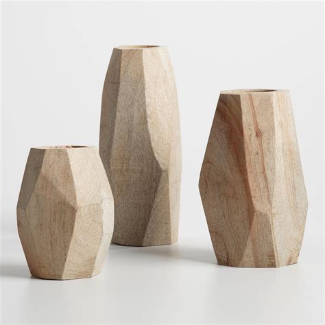 Wooden Vase by Wood Faceted Vase Collection World Market