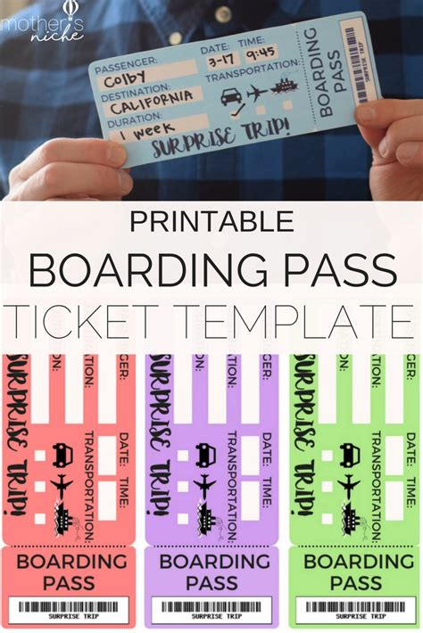 Printable Tickets Template Boarding Passes For Surprise Vacation Travel Ticket Template