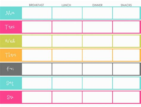 weight watchers menu planner template menu weight watchers menu planner template
